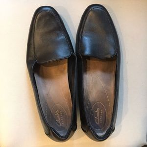 Clarks black loafers, size 12